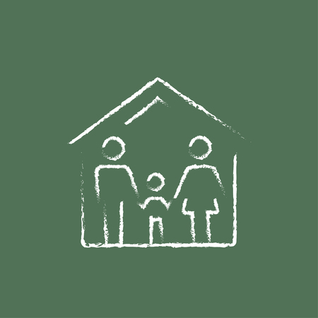 family isolated: Family house hand drawn in chalk on a blackboard vector white icon isolated on a green background. Illustration