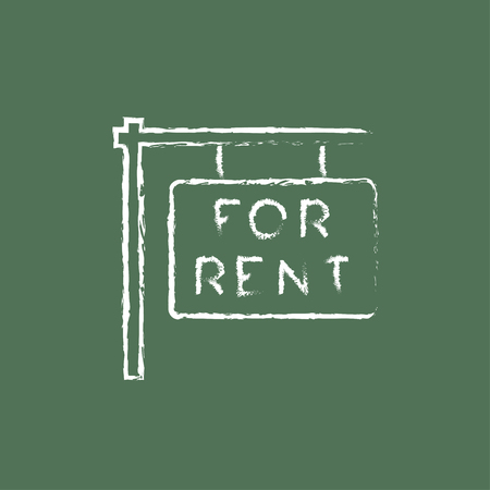 For rent placard hand drawn in chalk on a blackboard vector white icon isolated on a green background.