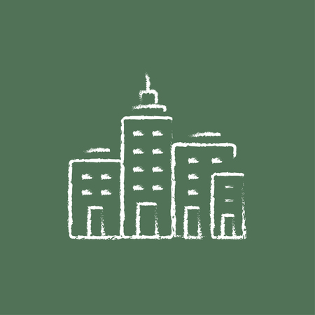 cemented: Residential buildings hand drawn in chalk on a blackboard vector white icon isolated on a green background.