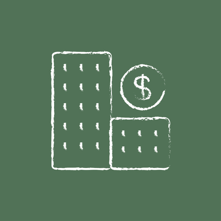 condominium: Condominium with dollar symbol hand drawn in chalk on a blackboard vector white icon isolated on a green background.