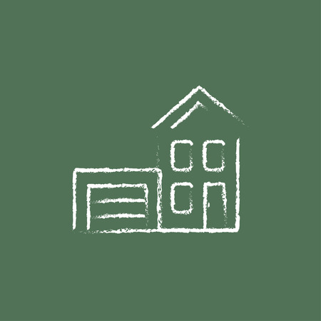 automatic doors: House with garage hand drawn in chalk on a blackboard vector white icon isolated on a green background.