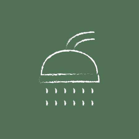 緑の背景に分離された黒板白ベクトル アイコンにチョークで描かれたシャワー手。