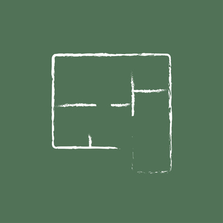 housing project: Layout of the house hand drawn in chalk on a blackboard vector white icon isolated on a green background. Illustration