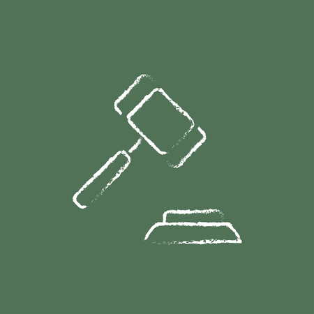 auction gavel: Auction gavel hand drawn in chalk on a blackboard vector white icon isolated on a green background.