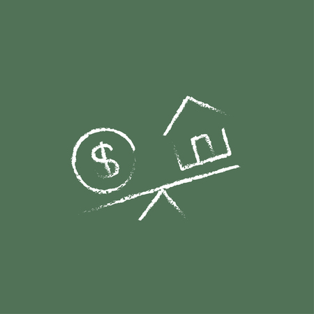 weigher: House and dollar symbol on scales hand drawn in chalk on a blackboard vector white icon isolated on a green background. Illustration