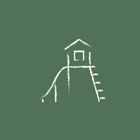 maison jouet: Playhouse with slide hand drawn in chalk on a blackboard vector white icon isolated on a green background. Illustration
