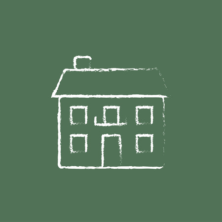 detached: Two storey detached house hand drawn in chalk on a blackboard vector white icon isolated on a green background.