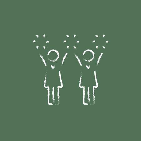 porrista: Cheerleaders dibujado a mano con tiza en un icono blanco vector de pizarra aislado en un fondo verde.