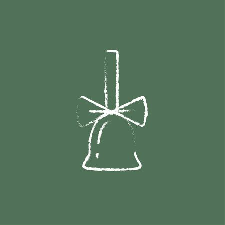 ding dong: School bell with ribbon hand drawn in chalk on a blackboard vector white icon isolated on a green background.