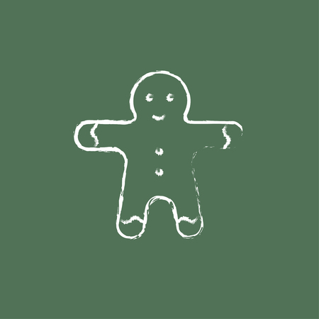 Gingerbread man hand drawn in chalk on a blackboard vector white icon isolated on a green background.
