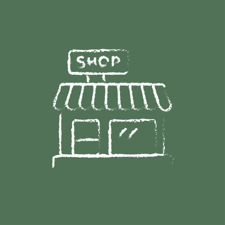 awnings: Shop hand drawn in chalk on a blackboard vector white icon isolated on a green background.