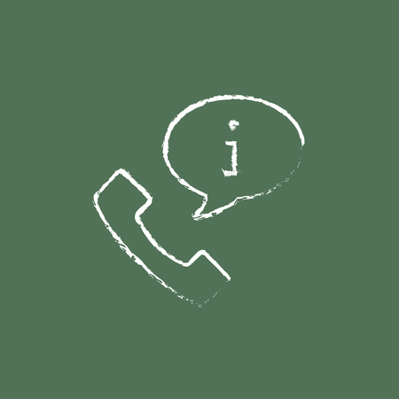 Customer service hand drawn in chalk on a blackboard vector white icon isolated on a green background.