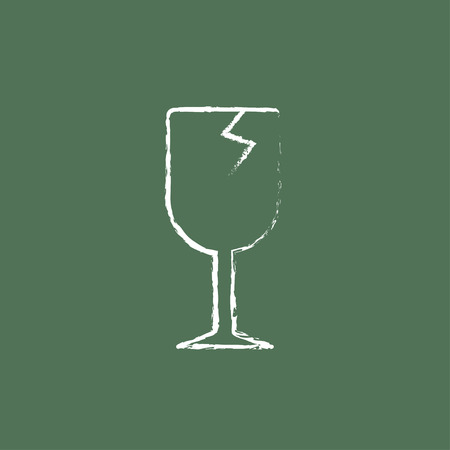 brittle: Cracked glass sketch icon hand drawn in chalk on a blackboard vector white icon isolated on a green background.