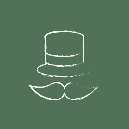 Hat and mustache hand drawn in chalk on a blackboard vector white icon isolated on a green background.