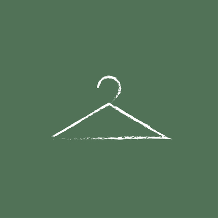 hangers: Hanger hand drawn in chalk on a blackboard vector white icon isolated on a green background.