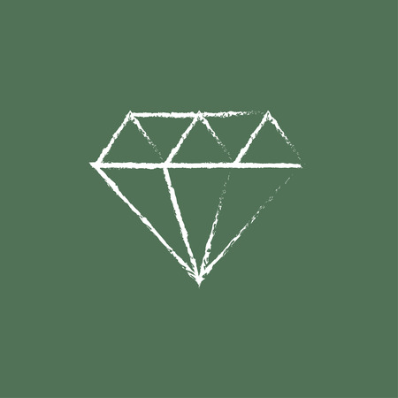 adamant: Diamond hand drawn in chalk on a blackboard vector white icon isolated on a green background.