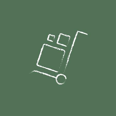 Compras manejo de la mano carro dibujado con tiza en una pizarra blanca vector icono aislado en un fondo verde. Foto de archivo - 45799542