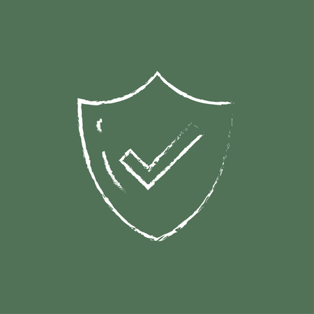 confirmed: Quality is confirmed hand drawn in chalk on a blackboard vector white icon isolated on a green background.