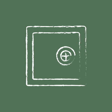 Safe hand drawn in chalk on a blackboard vector white icon isolated on a green background. Illustration