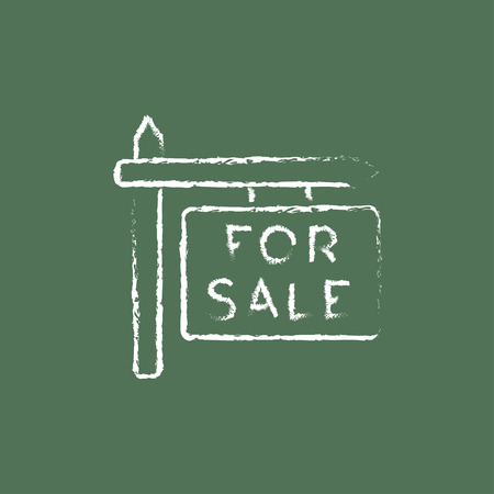 selloff: For sale signboard hand drawn in chalk on a blackboard vector white icon isolated on a green background.