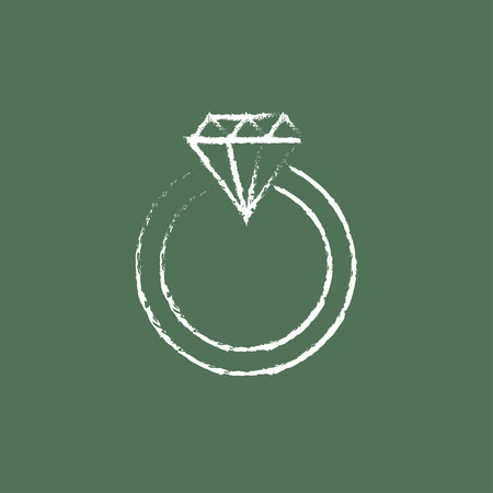 bijou: Diamond ring hand drawn in chalk on a blackboard vector white icon isolated on a green background.