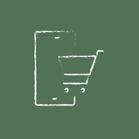 Online shopping hand drawn in chalk on a blackboard vector white icon isolated on a green background.