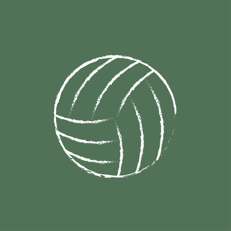 inflated: Volleyball ball hand drawn in chalk on a blackboard vector white icon isolated on a green background.