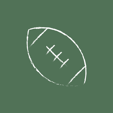 football ball: Rugby football ball hand drawn in chalk on a blackboard vector white icon isolated on a green background.