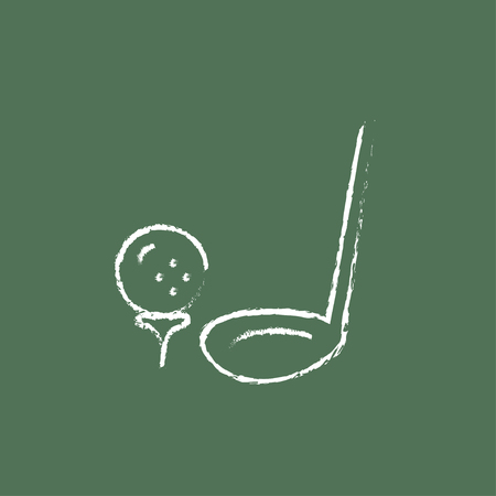 golf ball: Golf ball and putter hand drawn in chalk on a blackboard vector white icon isolated on a green background. Illustration