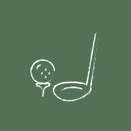golf  ball: Pelota de golf y putter dibujado a mano con tiza en un icono blanco vector de pizarra aislado en un fondo verde. Vectores