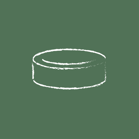 Hockey puck hand drawn in chalk on a blackboard vector white icon isolated on a green background. Illustration