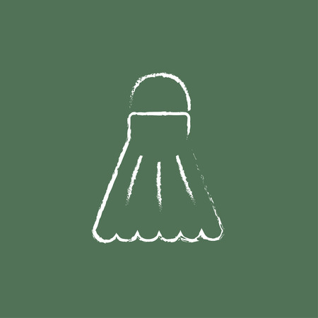 Shuttlecock  hand drawn in chalk on a blackboard vector white icon isolated on a green background. Illustration