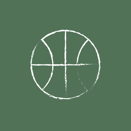 ball sport: Basketball ball hand drawn in chalk on a blackboard vector white icon isolated on a green background.