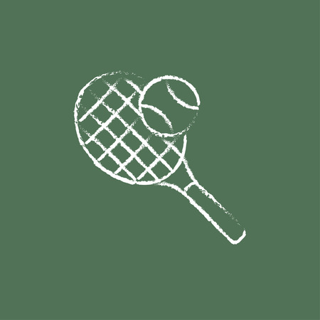 Tennis racket and ball hand drawn in chalk on a blackboard vector white icon isolated on a green background.