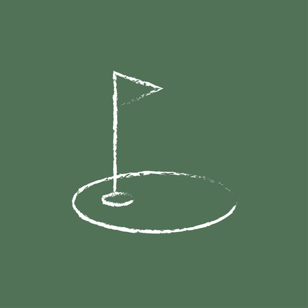 Golf hole with a flag hand drawn in chalk on a blackboard vector white icon isolated on a green background. Illustration