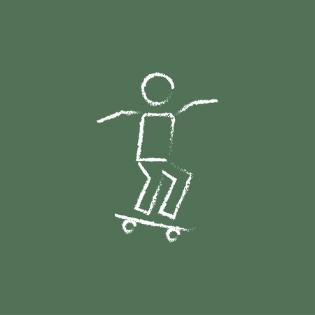 dangerous man: Man on skateboard hand drawn in chalk on a blackboard vector white icon isolated on a green background. Illustration