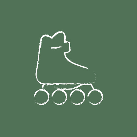 rollerskate: Roller skate hand drawn in chalk on a blackboard vector white icon isolated on a green background.