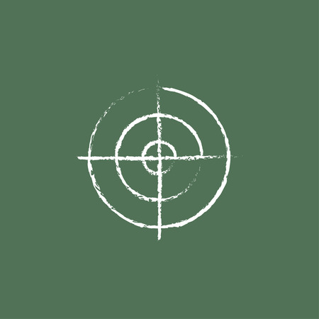 Shooting target hand drawn in chalk on a blackboard vector white icon isolated on a green background.