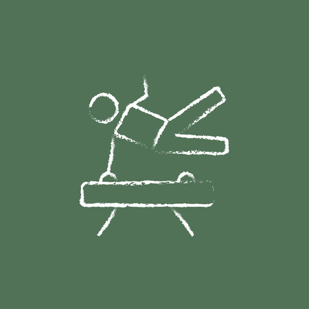 pommel: Gymnast on pommel horse hand drawn in chalk on a blackboard vector white icon isolated on a green background.
