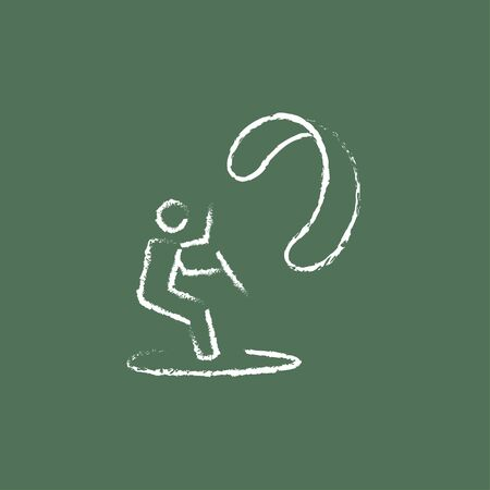 kite surf: Kite surfing hand drawn in chalk on a blackboard vector white icon isolated on a green background. Illustration