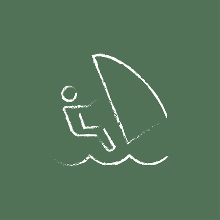 wind surfing: Wind surfing hand drawn in chalk on a blackboard vector white icon isolated on a green background.