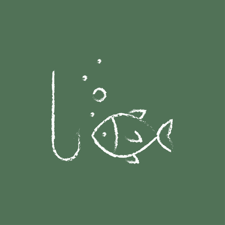 fishhook: Fish with hook hand drawn in chalk on a blackboard vector white icon isolated on a green background.