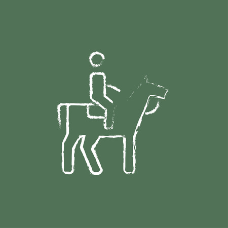 stirrup: Horse riding hand drawn in chalk on a blackboard vector white icon isolated on a green background. Illustration