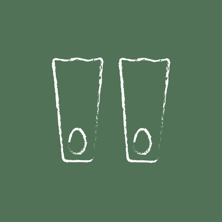 flippers: Flippers hand drawn in chalk on a blackboard vector white icon isolated on a green background. Illustration