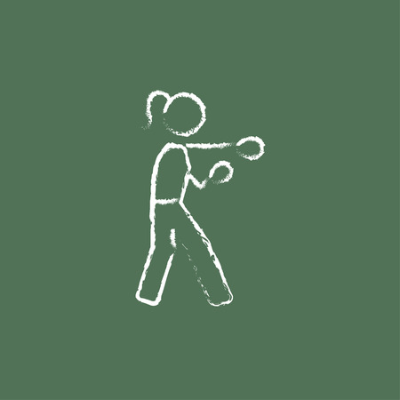 knockdown: Female boxer hand drawn in chalk on a blackboard vector white icon isolated on a green background. Illustration
