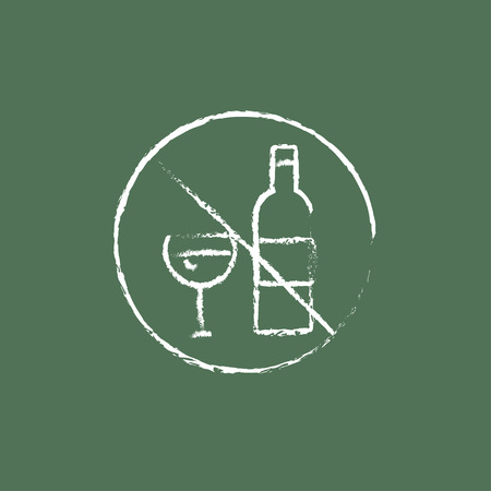strikethrough: No alcohol sign hand drawn in chalk on a blackboard vector white icon isolated on a green background.