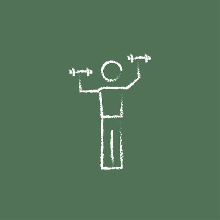 hand with dumbbell: Man with dumbbell hand drawn in chalk on a blackboard vector white icon isolated on a green background. Illustration