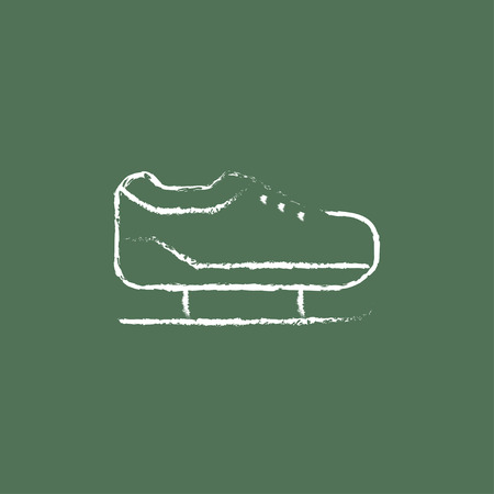 Skate hand drawn in chalk on a blackboard vector white icon isolated on a green background. Иллюстрация