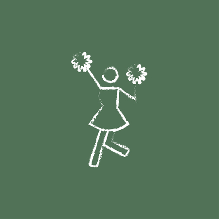 cheerleading squad: Cheerleader hand drawn in chalk on a blackboard vector white icon isolated on a green background. Illustration