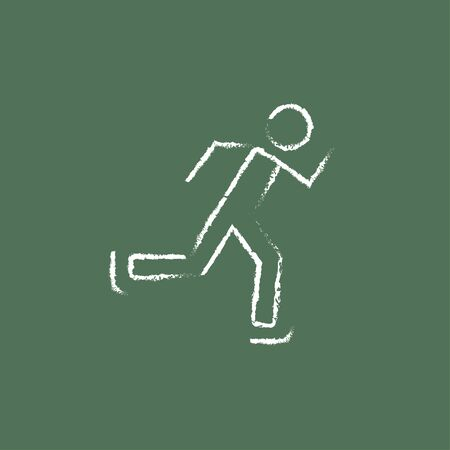 Speed skating hand drawn in chalk on a blackboard vector white icon isolated on a green background.